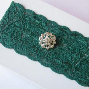 Simply Chic Bridal Garter - Green - Last piece of this lace - Special Offer 40% Off