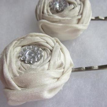 Ivory Silk Rosebud Bridal Hair Clip